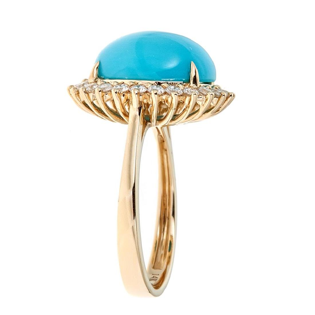 5.18 ctw Turquoise and Diamond Ring - 14KT Yellow Gold - 2