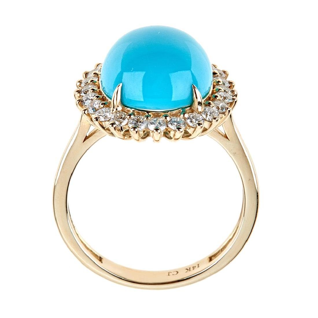 5.18 ctw Turquoise and Diamond Ring - 14KT Yellow Gold - 3