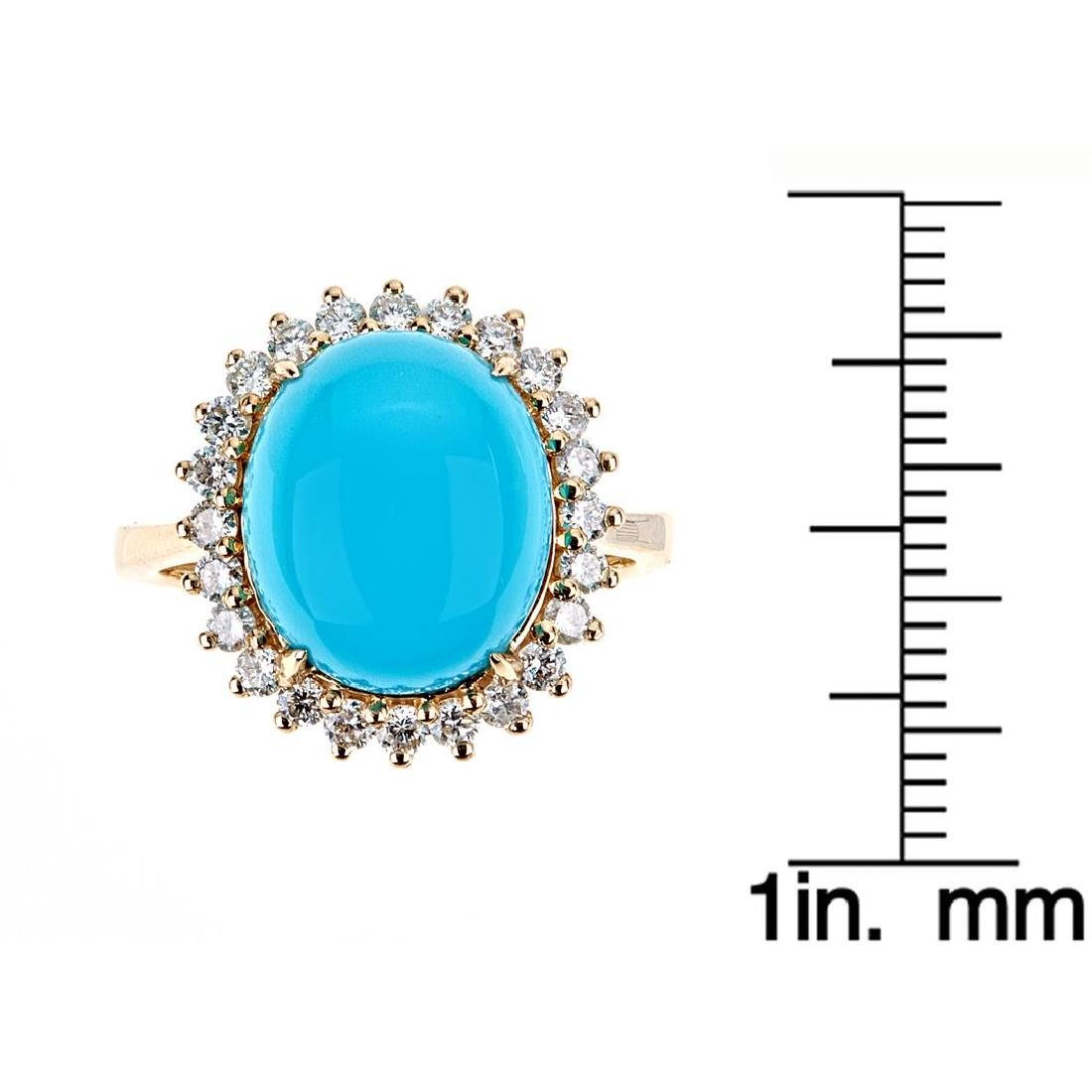 5.18 ctw Turquoise and Diamond Ring - 14KT Yellow Gold - 4