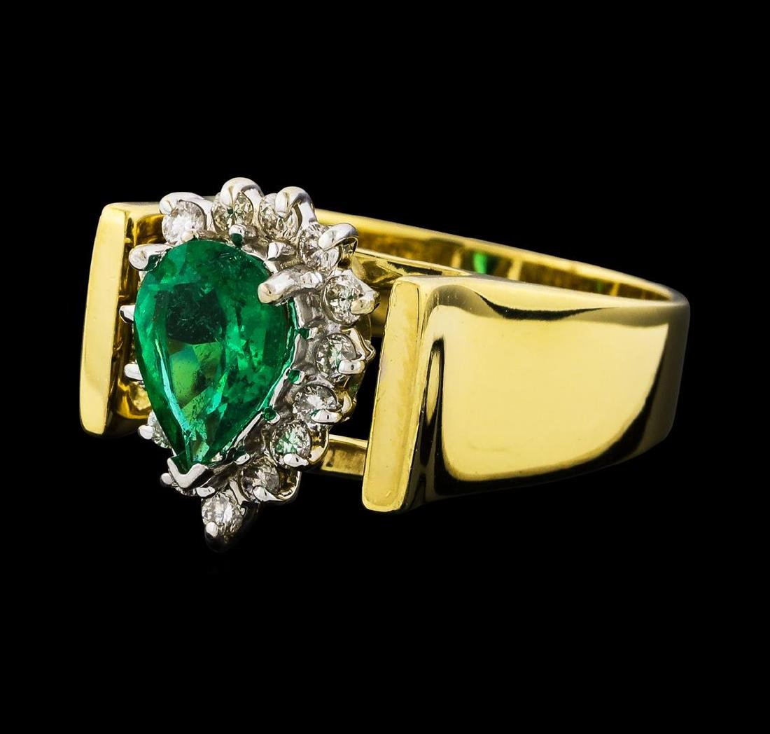 1.00 ctw Emerald and Diamond Ring - 18KT Yellow Gold