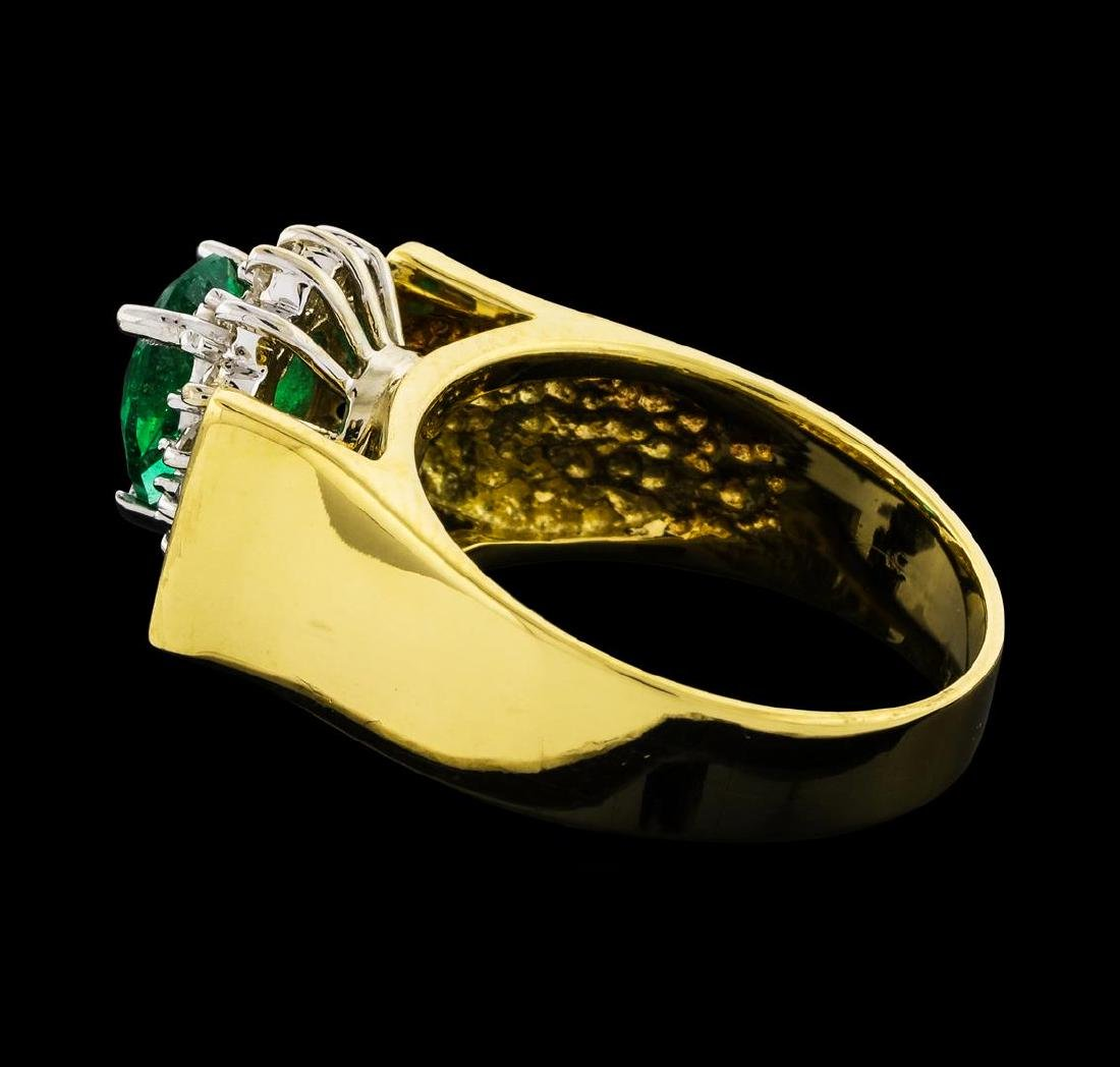 1.00 ctw Emerald and Diamond Ring - 18KT Yellow Gold - 3