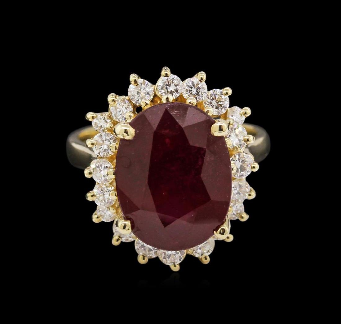 8.25 ctw Ruby and Diamond Ring - 14KT Yellow Gold - 2