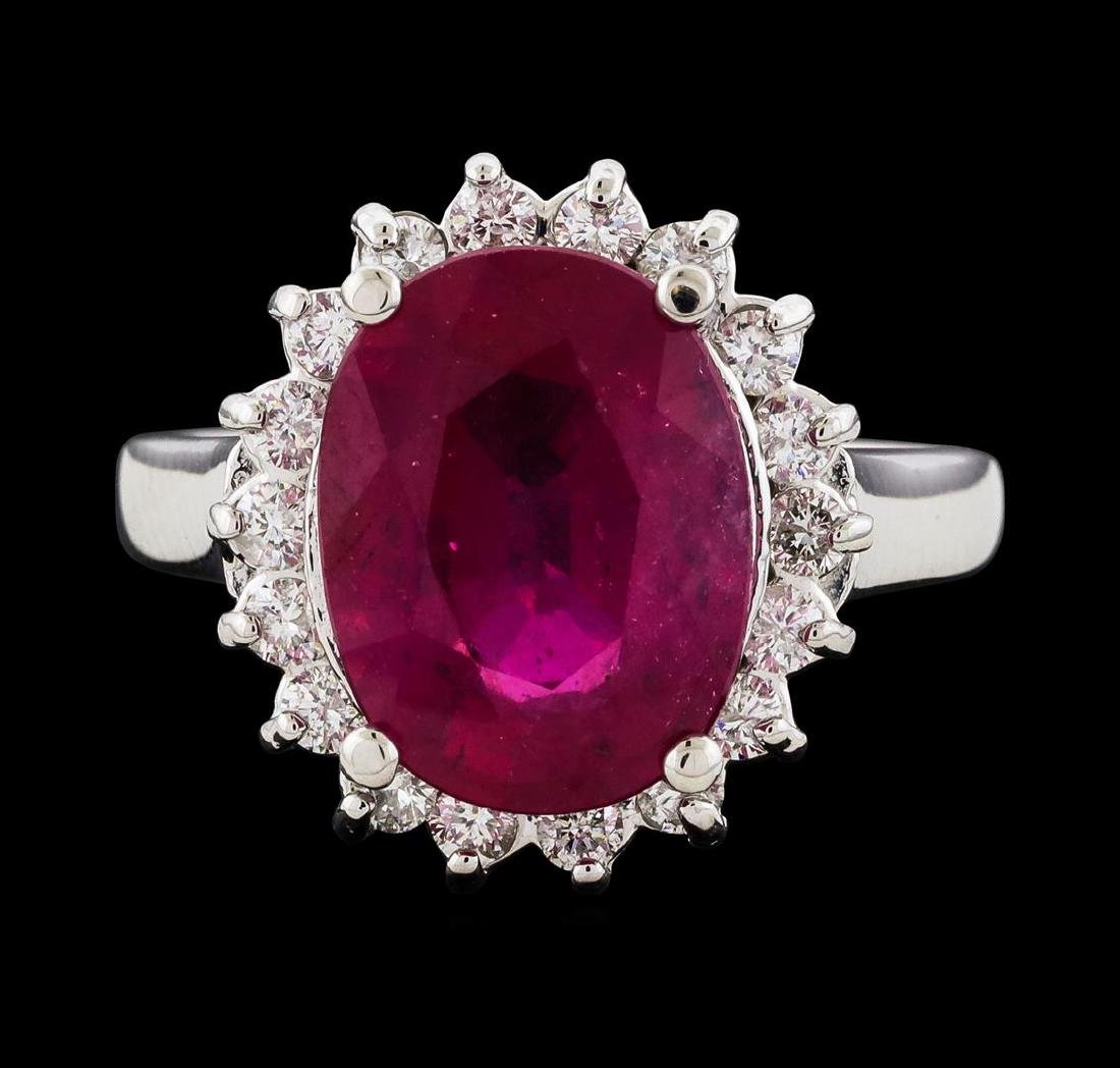 6.33 ctw Ruby and Diamond Ring - 14KT White Gold - 2