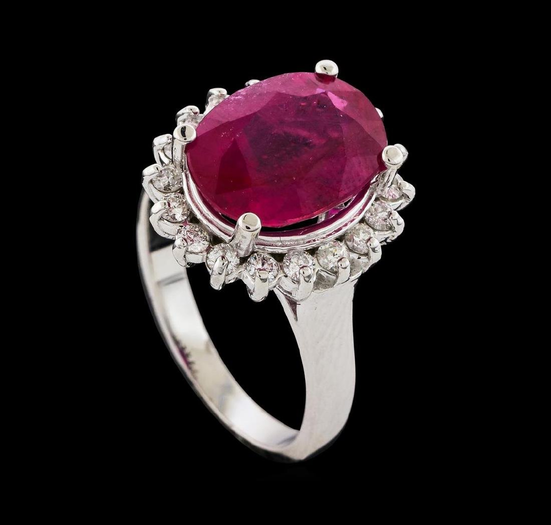 6.33 ctw Ruby and Diamond Ring - 14KT White Gold - 4