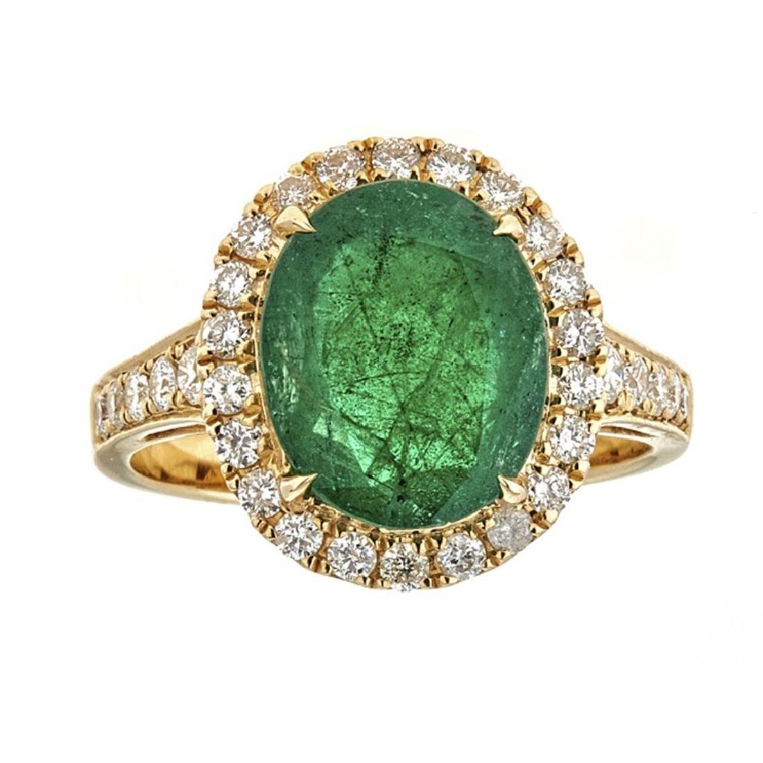 3.00 ctw Emerald and Diamond Ring - 18KT Yellow Gold