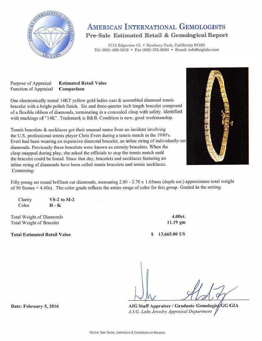 4.00 ctw Diamond Tennis Bracelet - 14KT Yellow Gold - 4