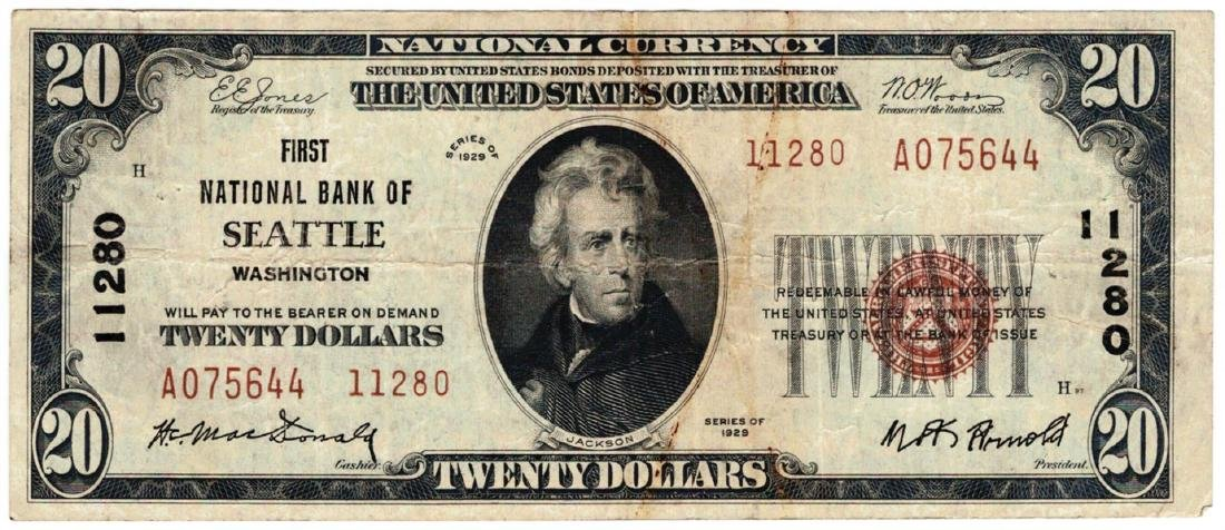 1929 $20 Seattle WA National Currency Note Charter