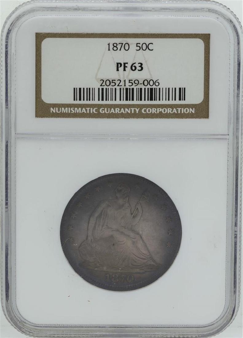 1870 Seated Liberty Proof Half Dollar Coin NGC PF63