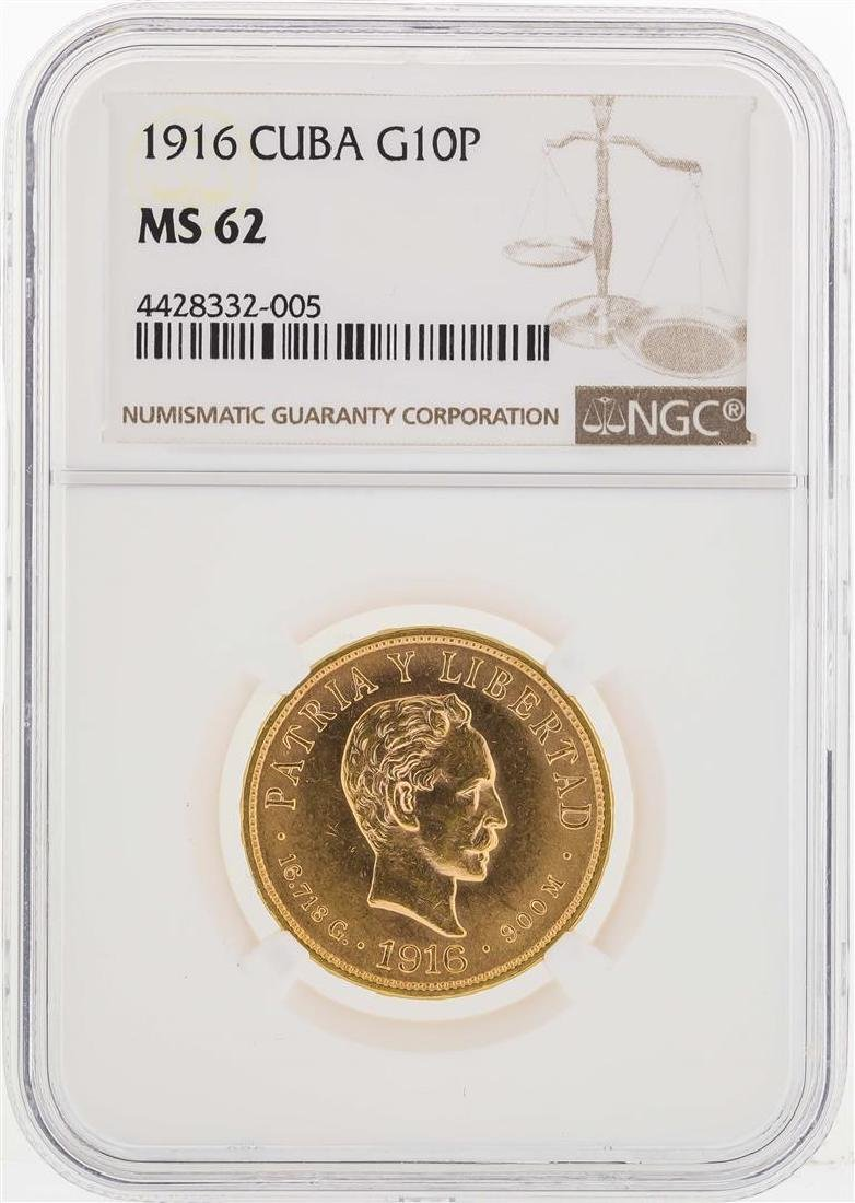 1916 Cuba 10 Gold Pesos Coin NGC MS62