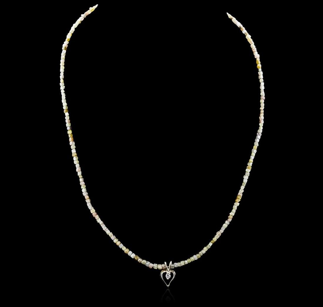 14KT Yellow Gold 32.99 ctw Rough Diamond Necklace With - 2