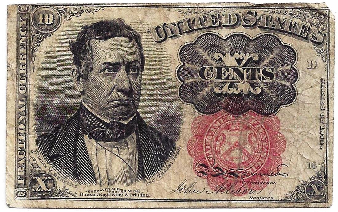 1864 10 Cents Fifth Issue Fractional Note