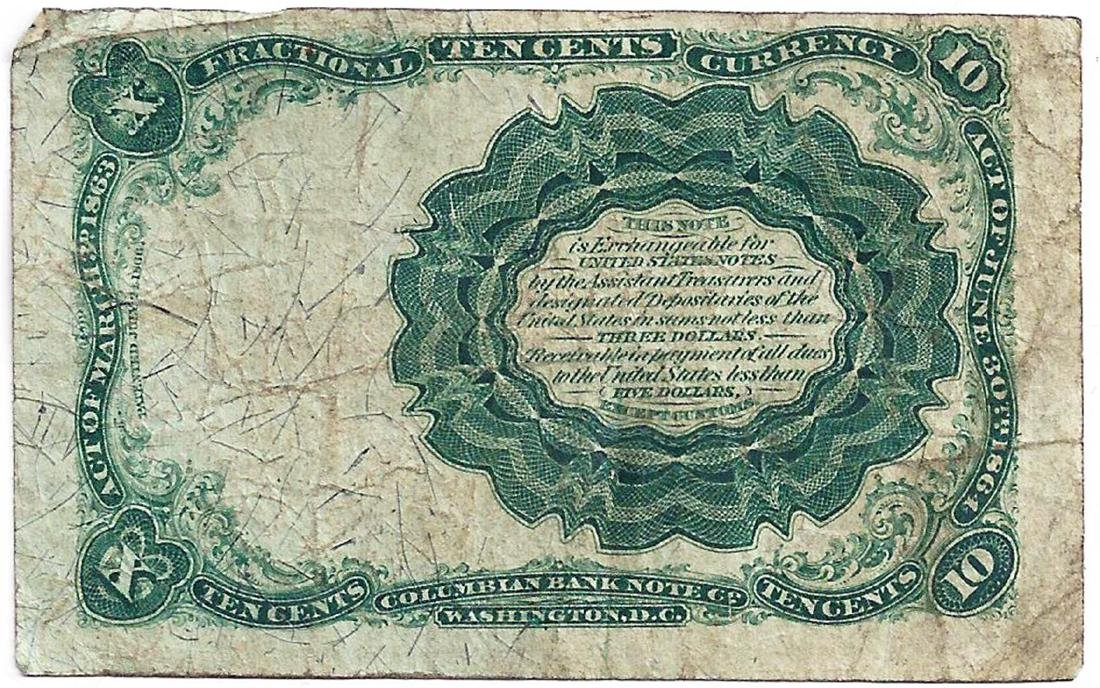 1864 10 Cents Fifth Issue Fractional Note - 2