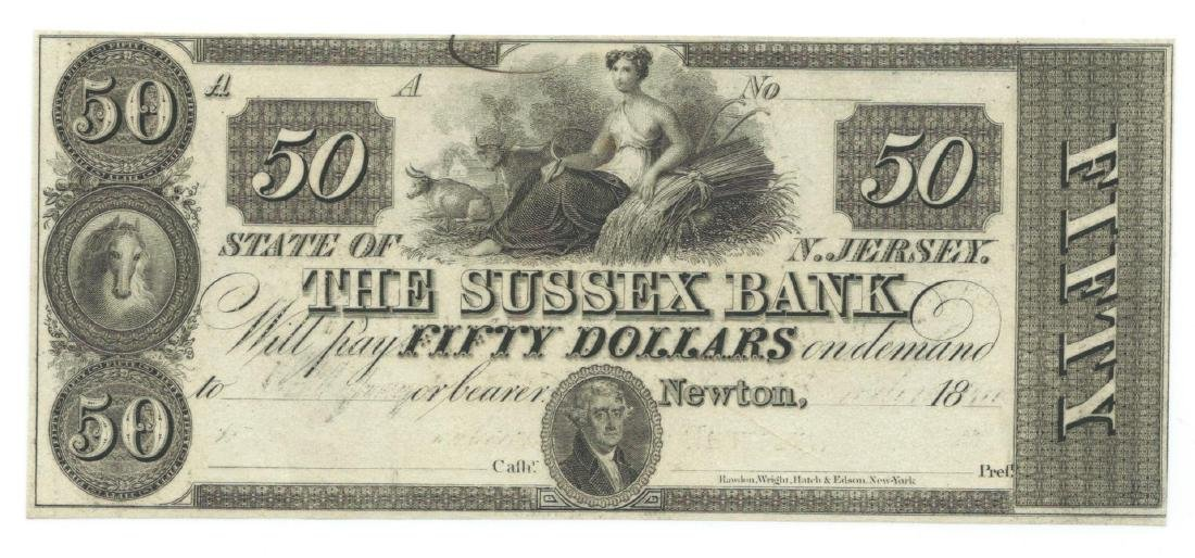 1800's $50 The Sussex Bank, Newton, NJ Obsolete Bank