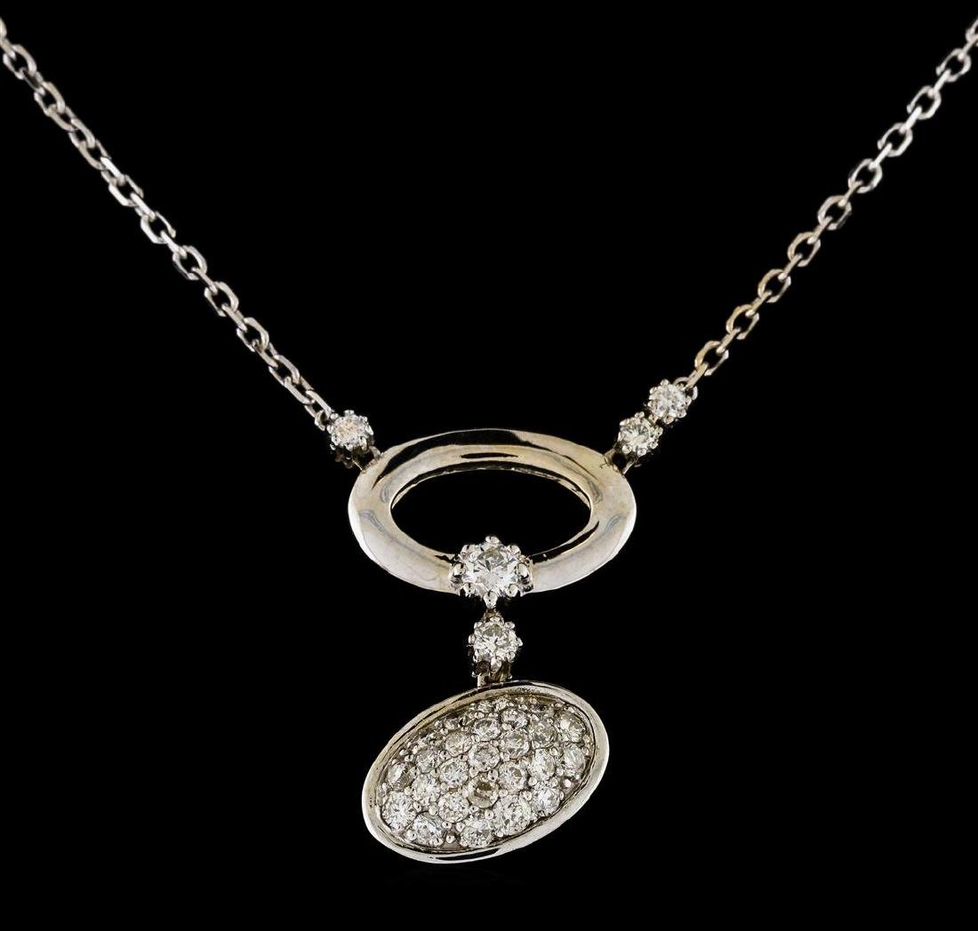 0.68 ctw Diamond Necklace - 14KT White Gold - 2