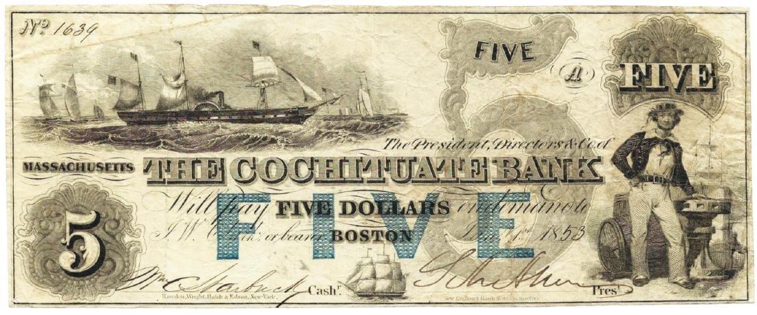 1853 $5 The Cochituate Bank, Boston, MA Obsolete Bank