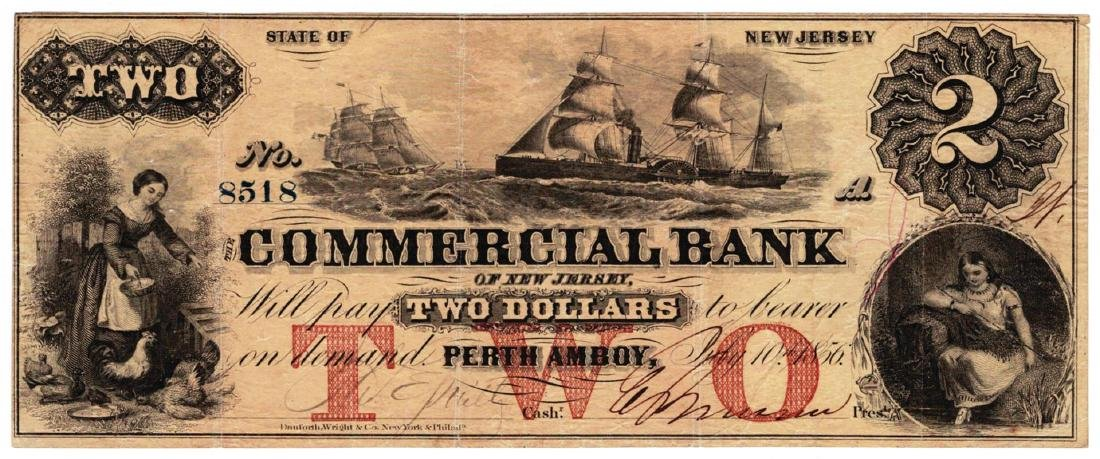1856 $2 Commercial Bank Of New Jersey - Obsolete Bank