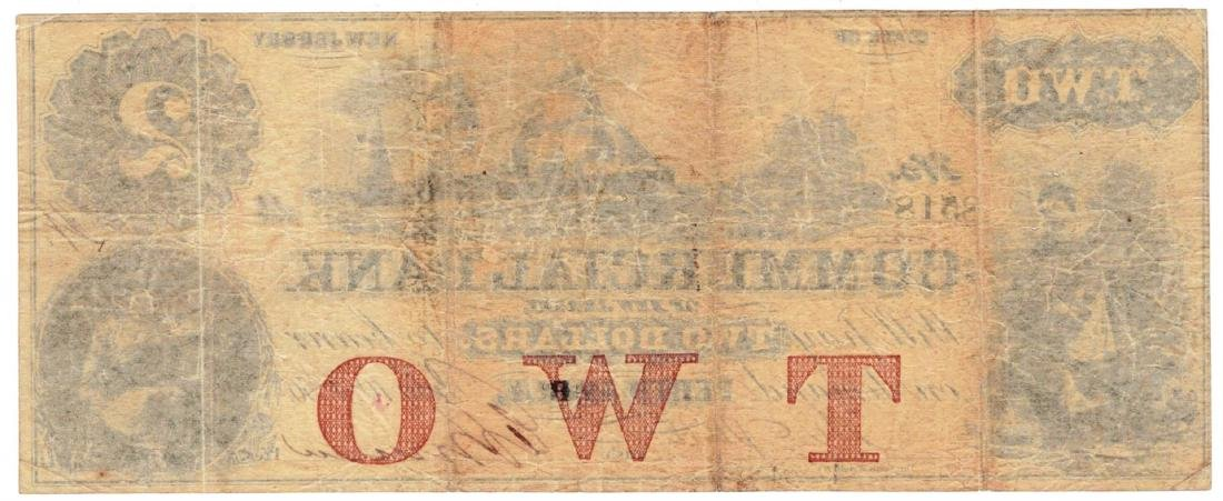 1856 $2 Commercial Bank Of New Jersey - Obsolete Bank - 2