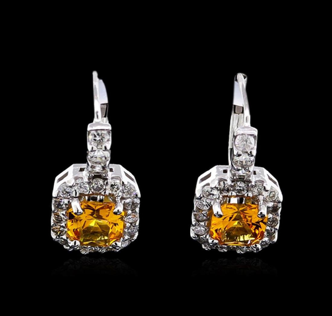 1.50 ctw Yellowish Orange Sapphire and Diamond Earrings