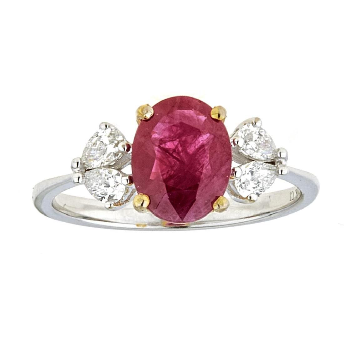 1.76 ctw Ruby and Diamond Ring - 18KT White and Yellow