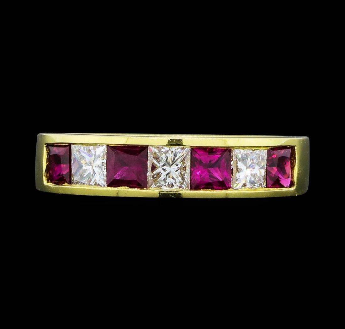 0.80 ctw Ruby and Diamond Ring - 18KT Yellow Gold - 2