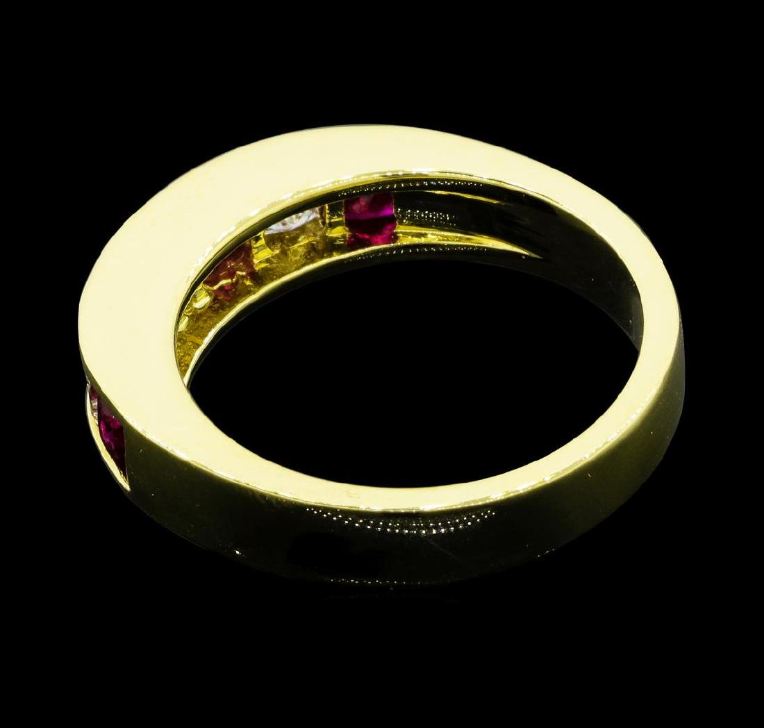 0.80 ctw Ruby and Diamond Ring - 18KT Yellow Gold - 3