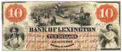 1860 10 Bank of Lexington NC Obsolete Bank Note
