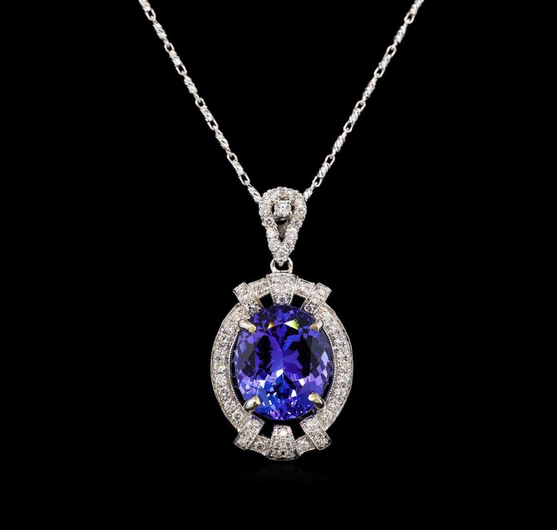 18KT White Gold 6.20 ctw Tanzanite and Diamond Pendant