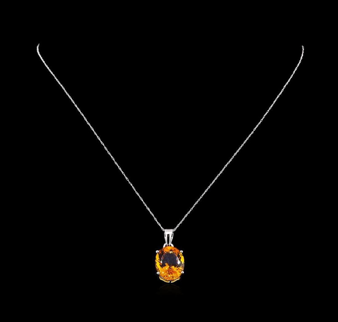 Crayola 8.80 ctw Citrine Pendant With Chain - 14K White