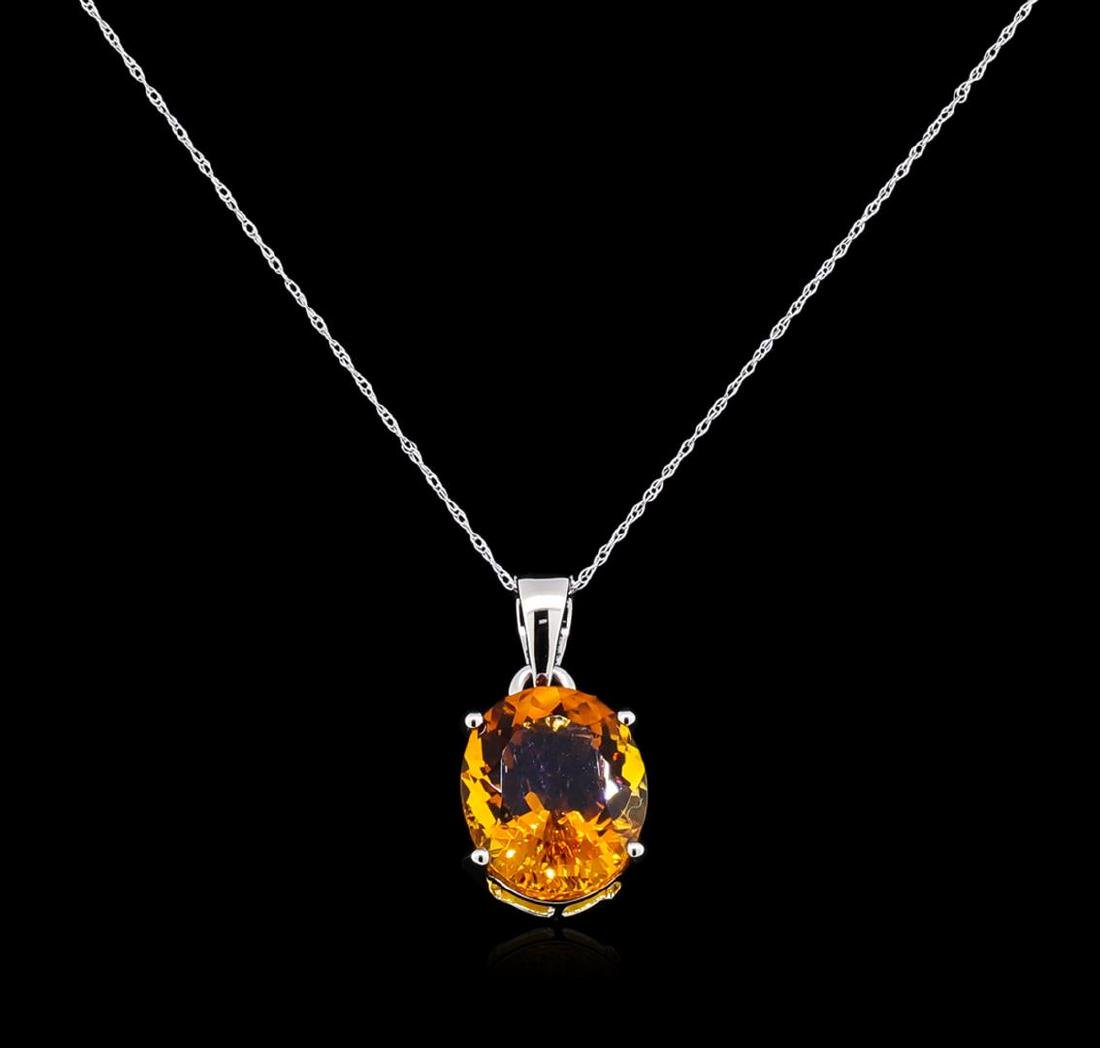 Crayola 8.80 ctw Citrine Pendant With Chain - 14K White - 2