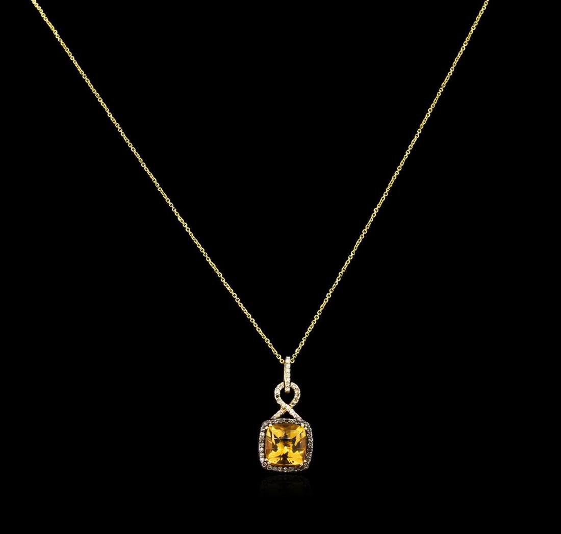 3.80 ctw Citrine and Diamond Pendant With Chain - 14KT
