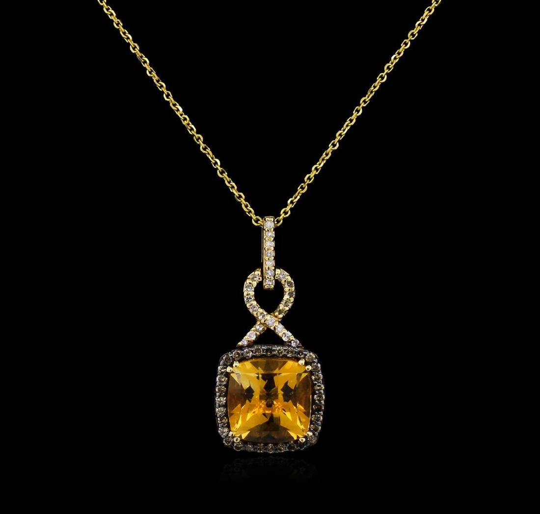 3.80 ctw Citrine and Diamond Pendant With Chain - 14KT - 2