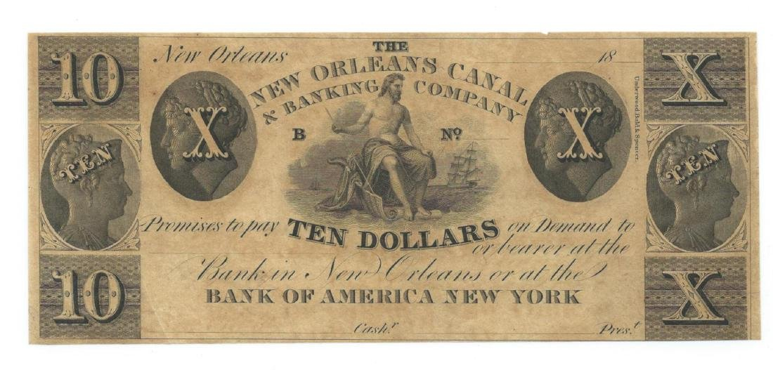 1800's $10 New Orleans Canal & Banking Co.,New Orleans
