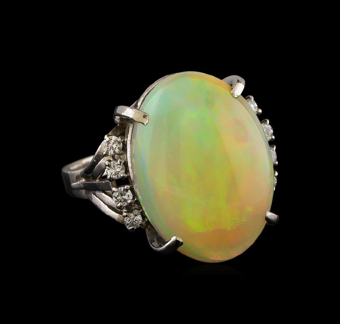 8.26 ctw Opal and Diamond Ring - Platinum