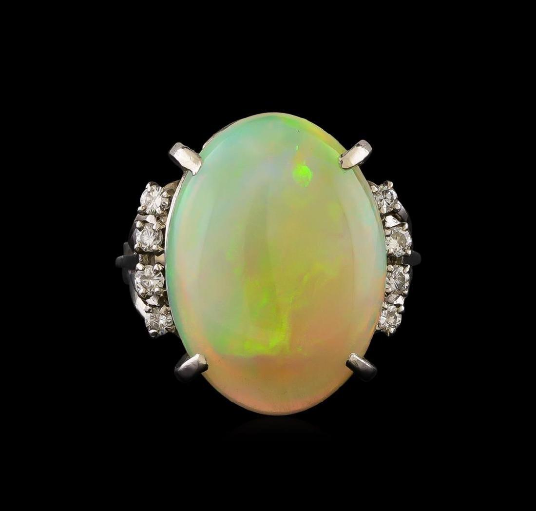 8.26 ctw Opal and Diamond Ring - Platinum - 2
