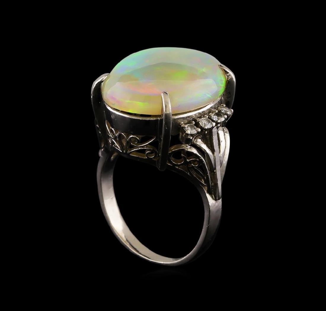 8.26 ctw Opal and Diamond Ring - Platinum - 4