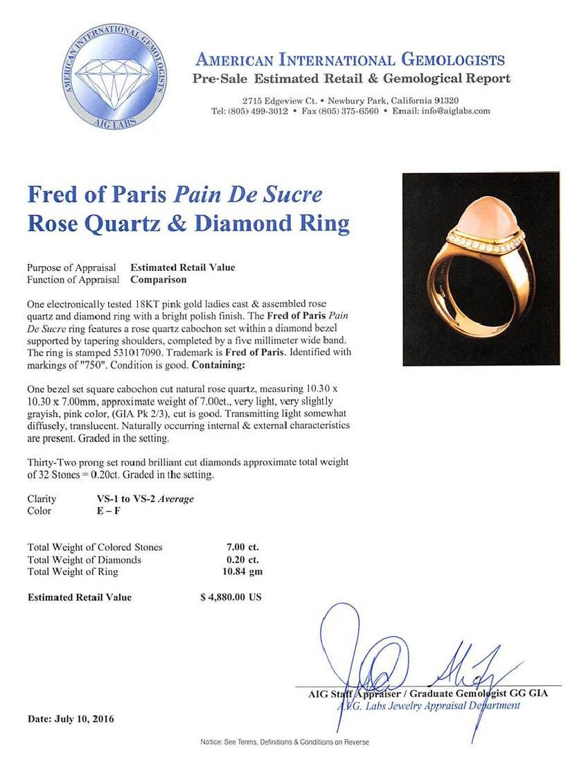 Fred of Paris Pain De Sucre Rose Quartz and Diamond - 5