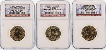 Set of 3 2007 1 Presidential Dollar Coins NGC First