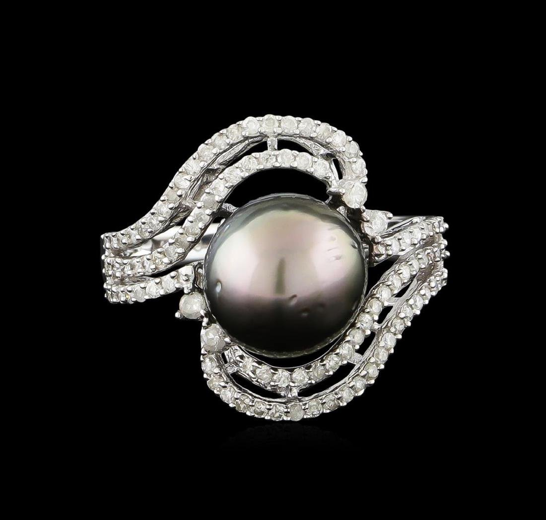 14KT White Gold Pearl and Diamond Ring - 2