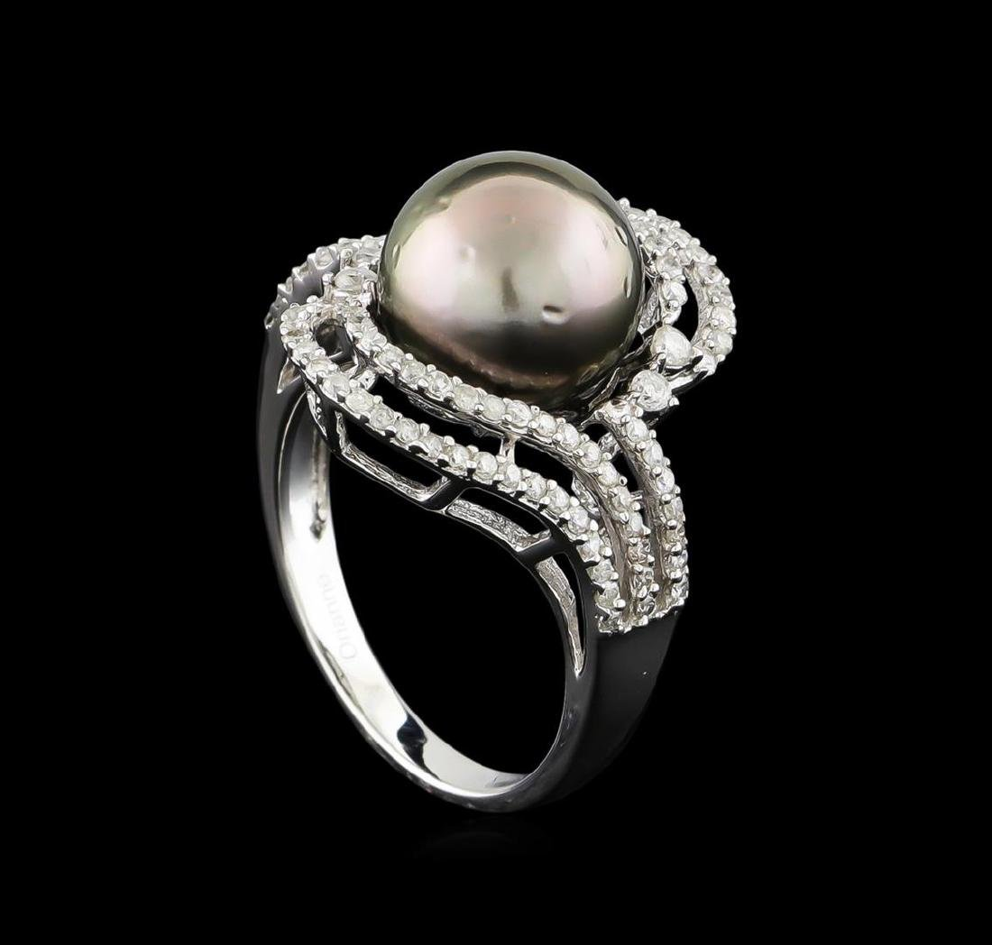 14KT White Gold Pearl and Diamond Ring - 4