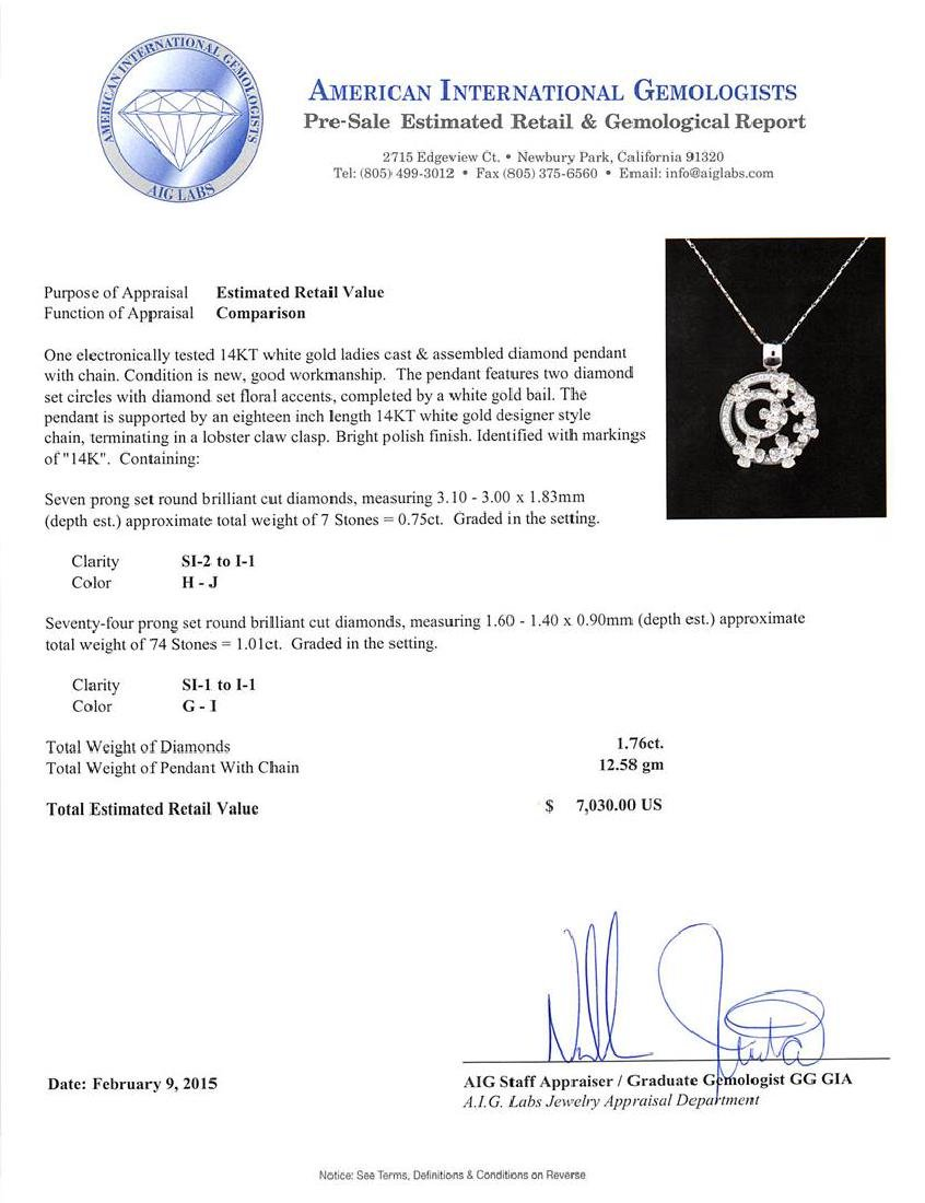 14KT White Gold 1.76 ctw Diamond Pendant With Chain - 3