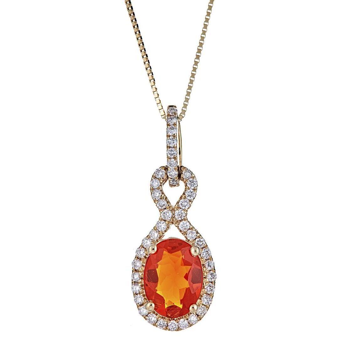 0.77 ctw Fire Opal and Diamond Pendant - 14KT Yellow