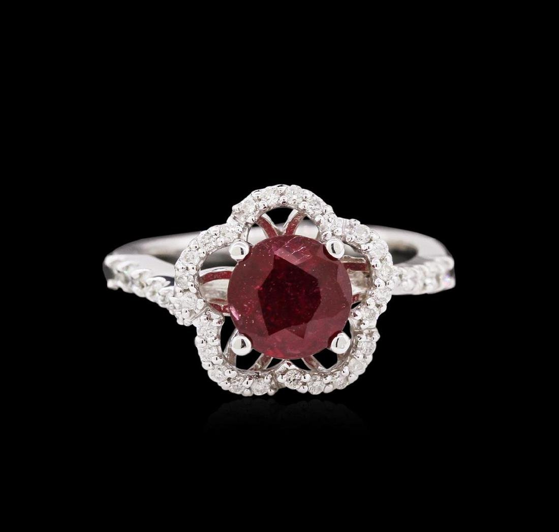 1.87 ctw Ruby and Diamond Ring - 14KT White Gold - 2
