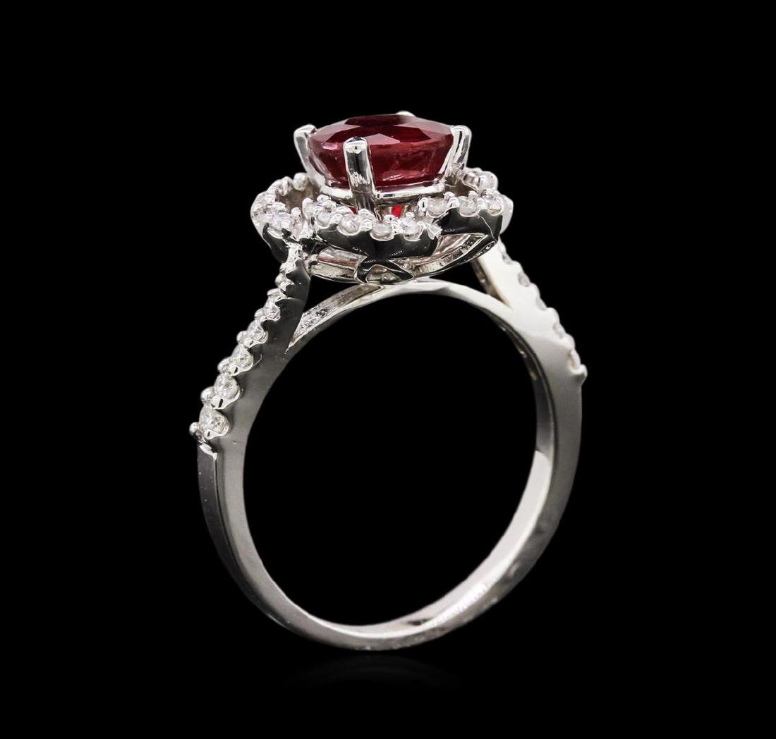 1.87 ctw Ruby and Diamond Ring - 14KT White Gold - 3