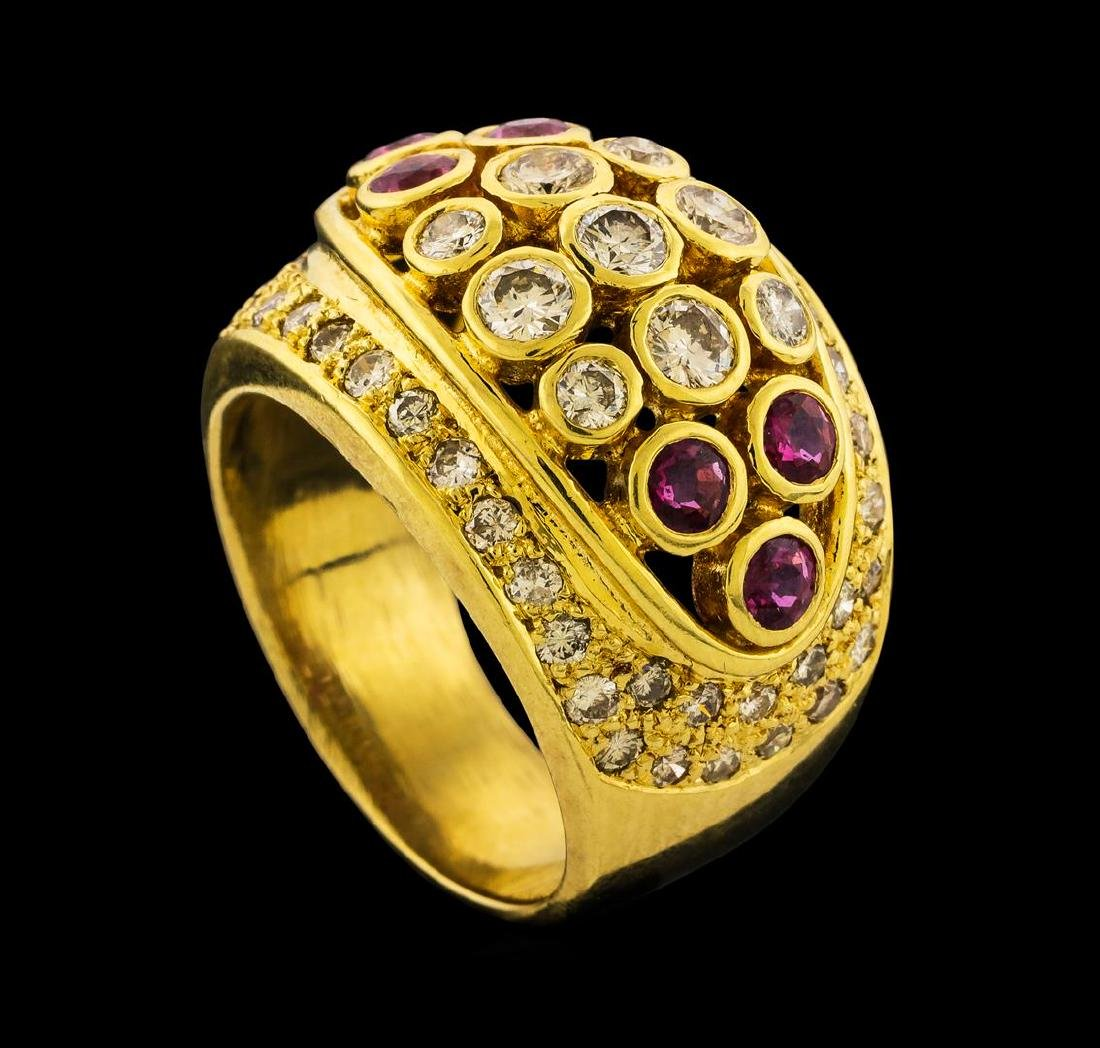Ruby and Diamond Ring - 18KT Yellow Gold - 4