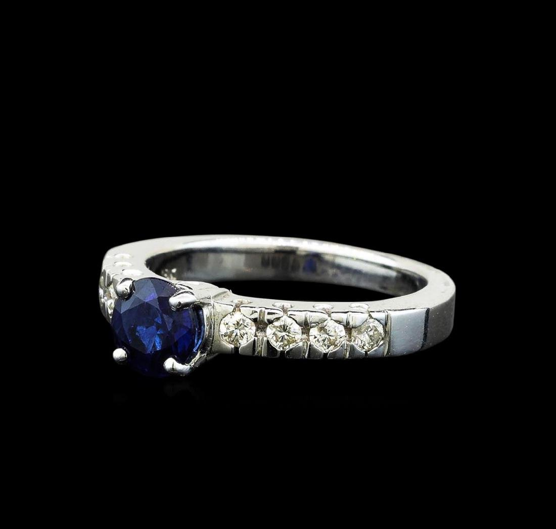 1.03 ctw Blue Sapphire and Diamond Ring - 18KT White