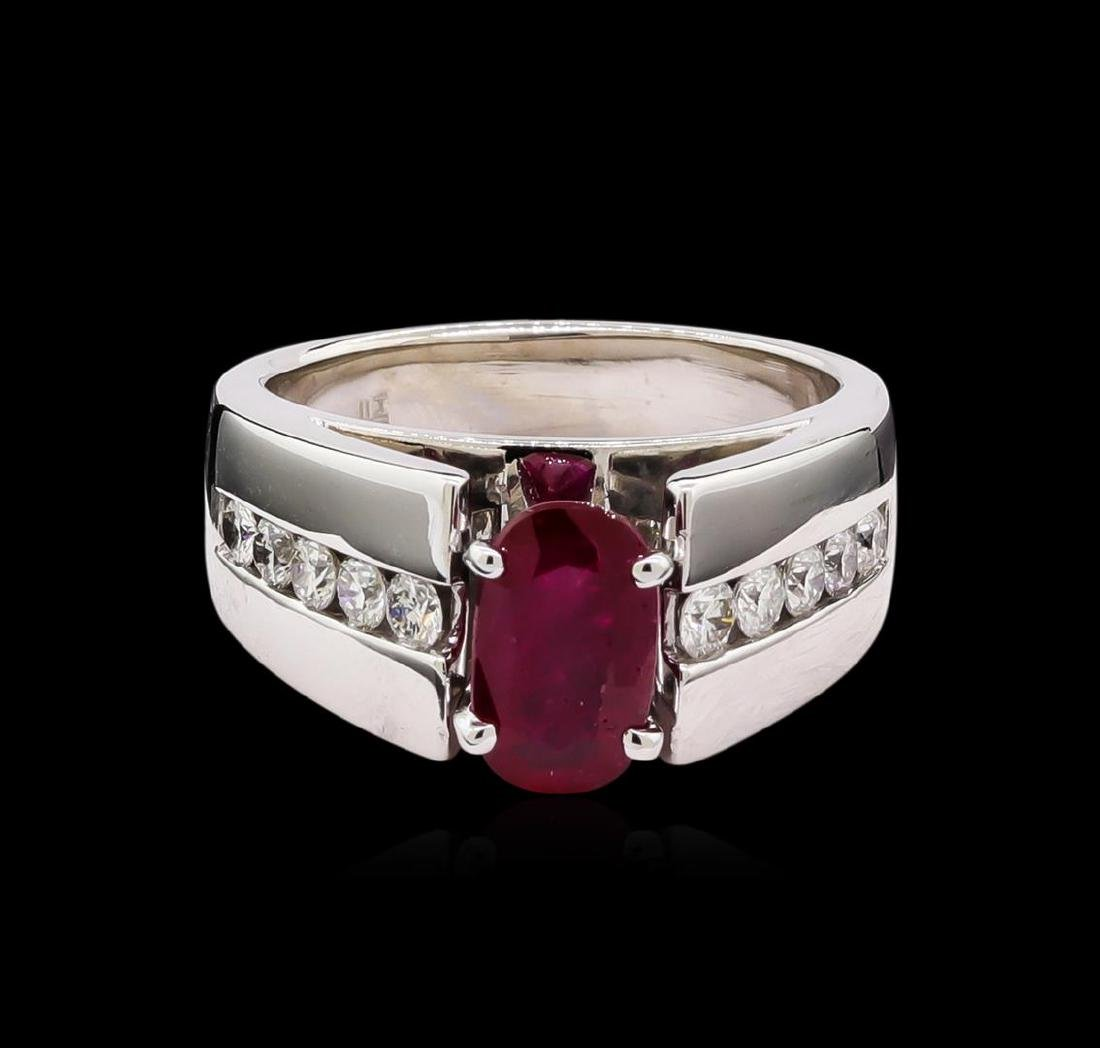 1.39 ctw Ruby and Diamond Ring - 14KT White Gold - 2