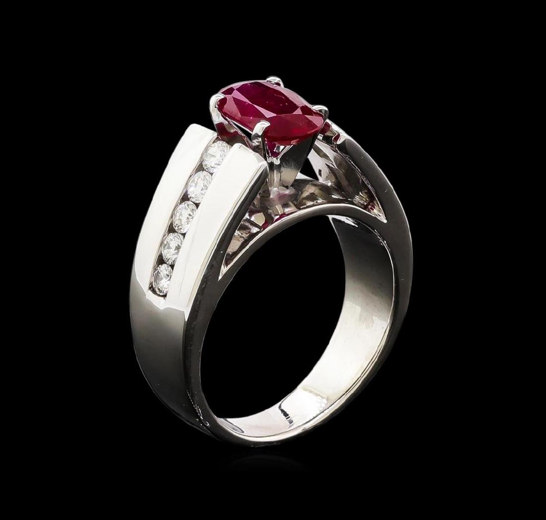 1.39 ctw Ruby and Diamond Ring - 14KT White Gold - 4