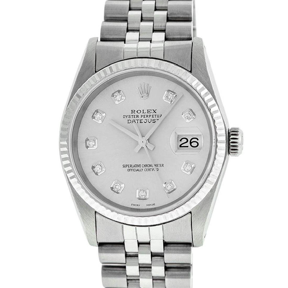 Rolex Mens Stainless Steel Silver Diamond Datejust - 2