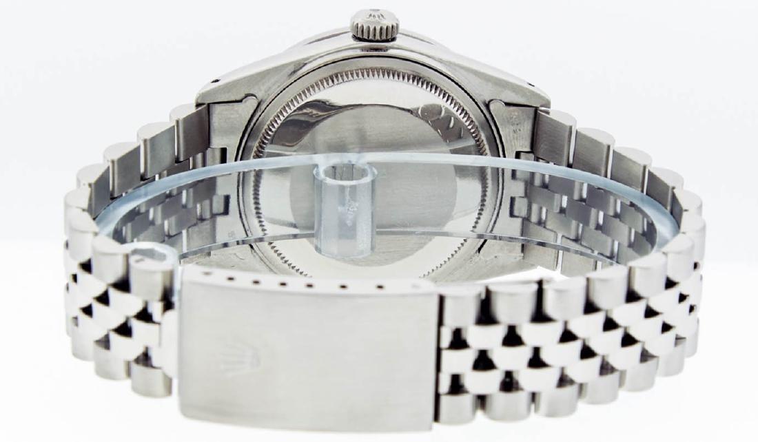 Rolex Mens Stainless Steel Silver Diamond Datejust - 6
