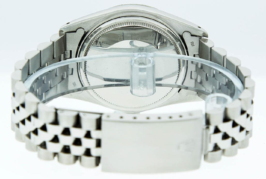 Rolex Mens Stainless Steel Silver Diamond Datejust - 7